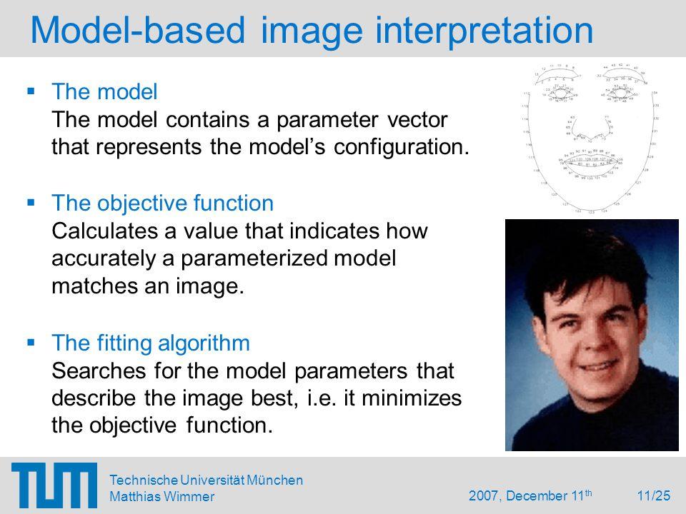 2007, December 11 th 11/25 Technische Universität München Matthias Wimmer Model-based image interpretation  The model The model contains a parameter vector that represents the model's configuration.