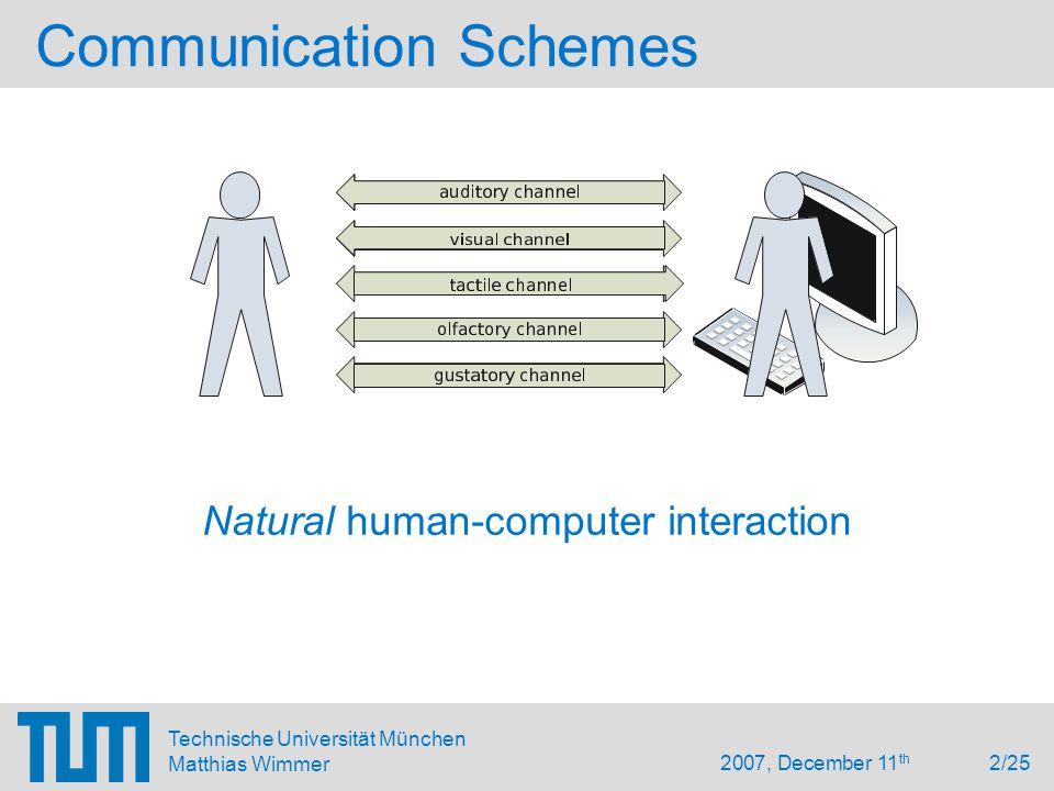 2007, December 11 th 2/25 Technische Universität München Matthias Wimmer Communication Schemes Natural human-computer interaction