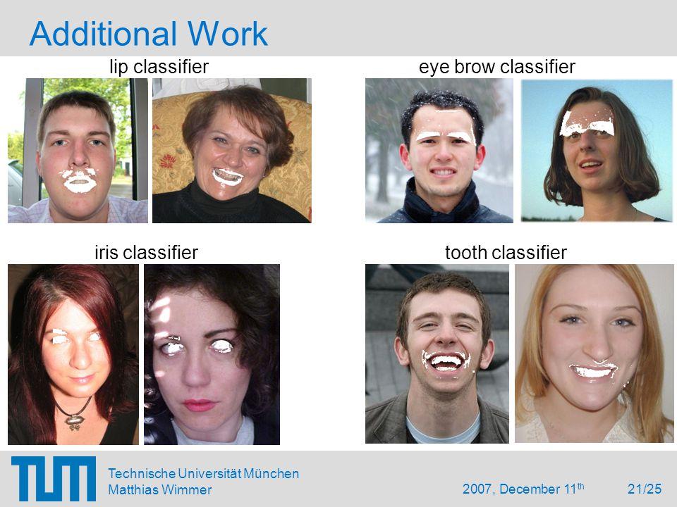 2007, December 11 th 21/25 Technische Universität München Matthias Wimmer Additional Work lip classifier eye brow classifier iris classifier tooth classifier