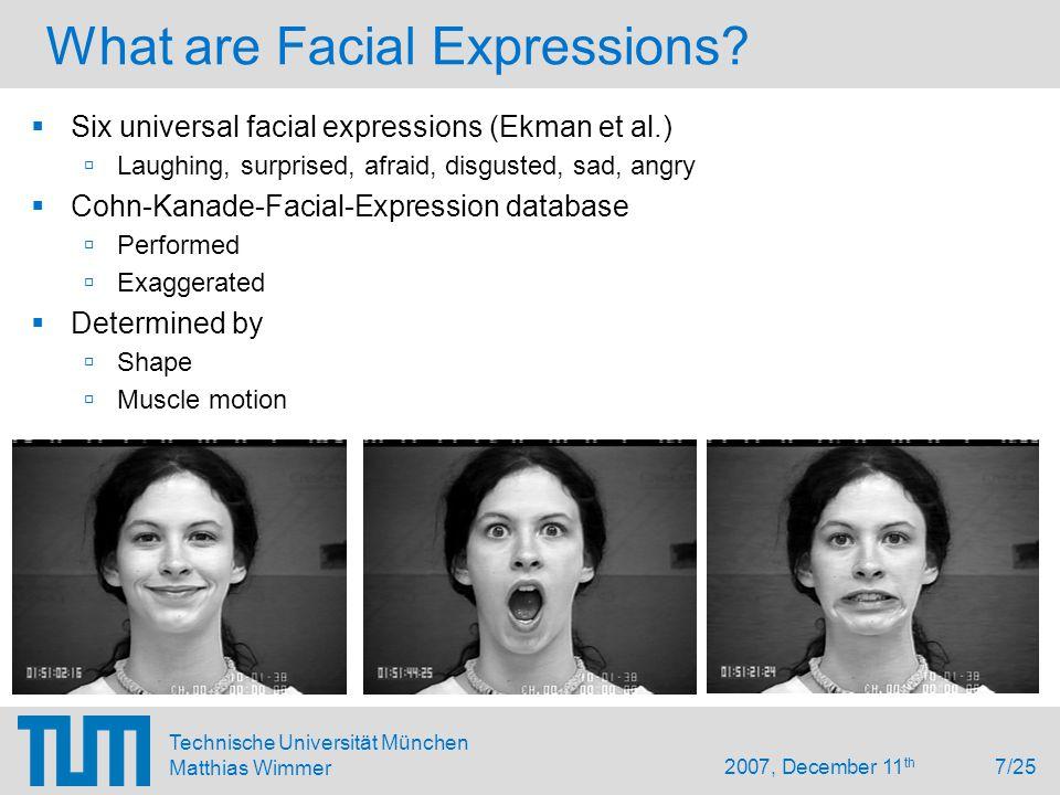 2007, December 11 th 7/25 Technische Universität München Matthias Wimmer What are Facial Expressions.
