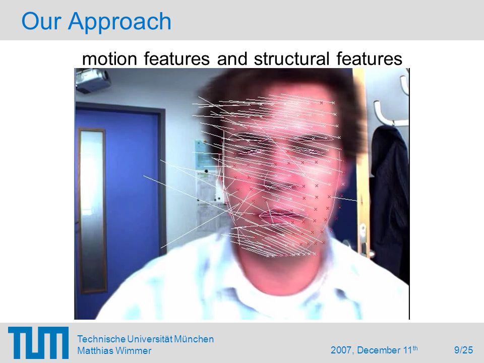 2007, December 11 th 9/25 Technische Universität München Matthias Wimmer Our Approach motion features and structural features