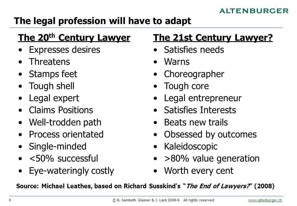 9© B. Sambeth Glasner & J. Lack 2008-9. All rights reserved. www.altenburger.chwww.altenburger.ch The legal profession will have to adapt The 20 th Ce