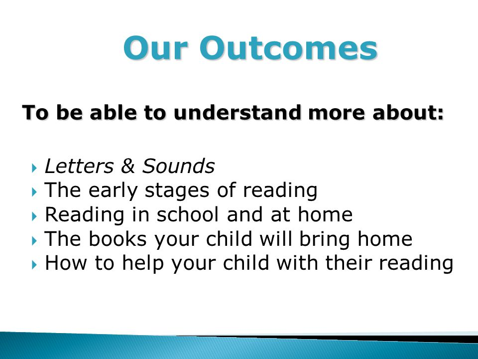 Our Outcomes To be able to understand more about: Our Outcomes To be able to understand more about:  Letters & Sounds  The early stages of reading  Reading in school and at home  The books your child will bring home  How to help your child with their reading