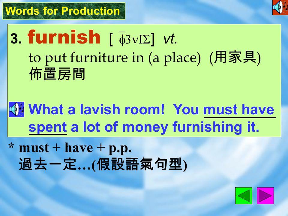 Words for Production 2. tastefully [ `testf1lI ] adv.