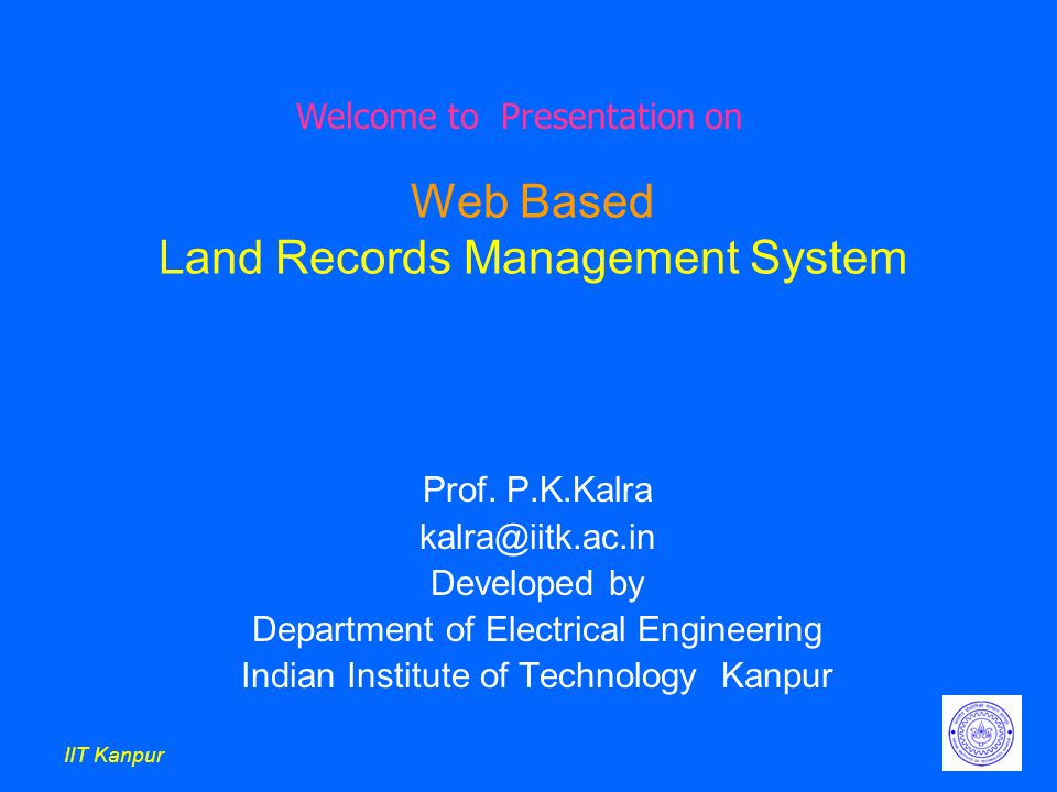 IIT Kanpur Web Based Land Records Management System Prof.