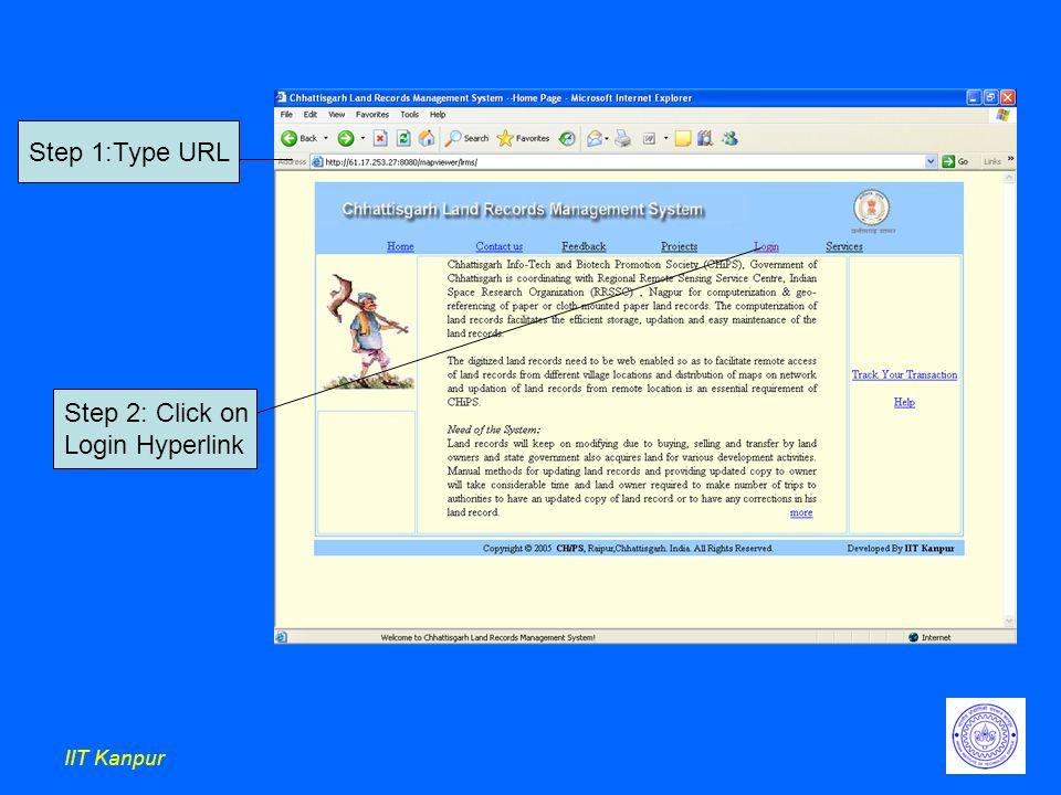 IIT Kanpur Step 1:Type URL Step 2: Click on Login Hyperlink