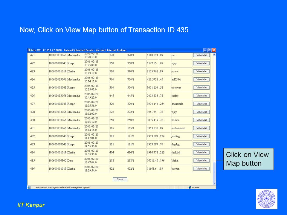 IIT Kanpur Click on View Map button Now, Click on View Map button of Transaction ID 435
