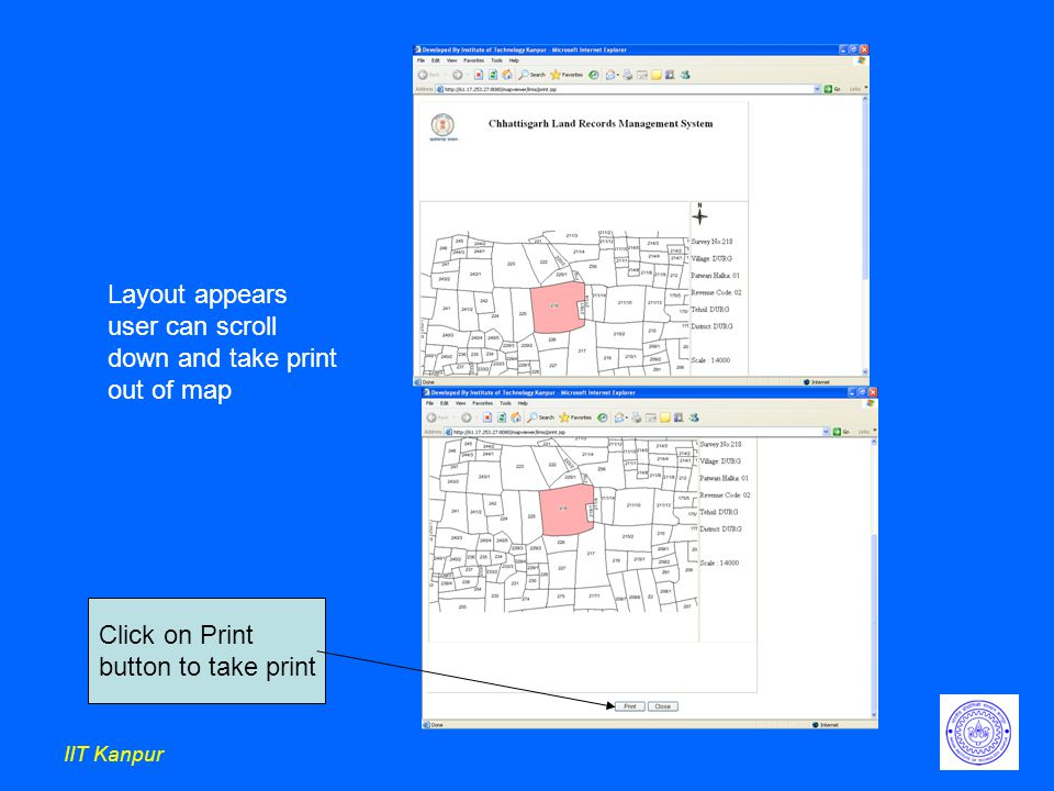 IIT Kanpur Layout appears user can scroll down and take print out of map Click on Print button to take print