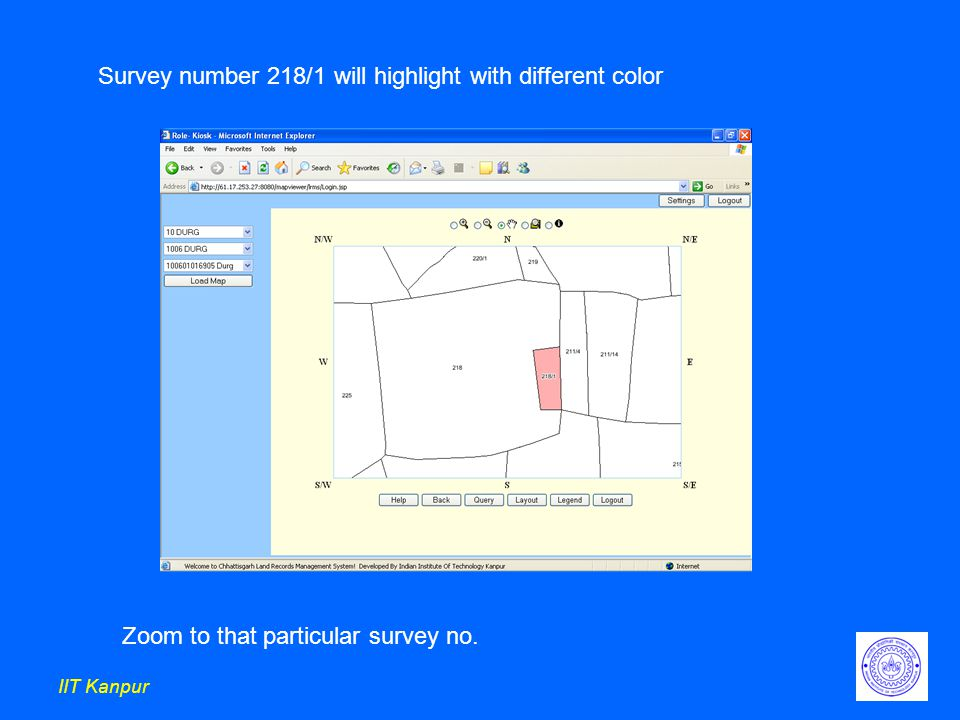 IIT Kanpur Survey number 218/1 will highlight with different color Zoom to that particular survey no.