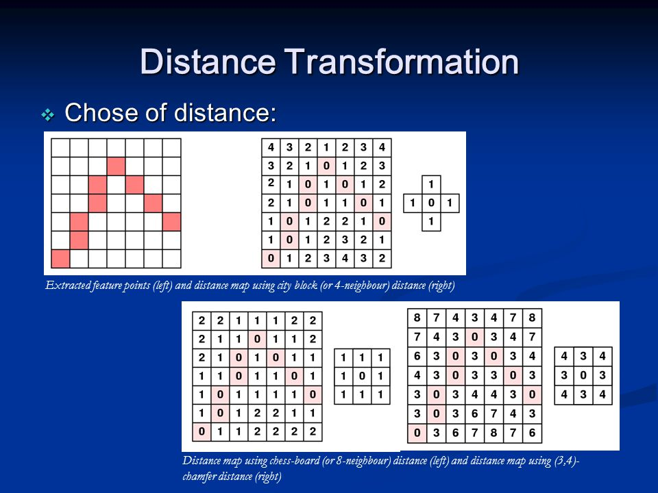 Distance Transformation  Chose of distance: Extracted feature points (left) and distance map using city block (or 4-neighbour) distance (right) Dista