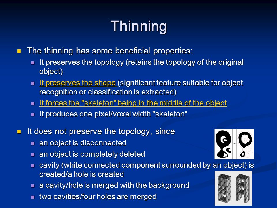 Thinning The thinning has some beneficial properties: The thinning has some beneficial properties: It preserves the topology (retains the topology of