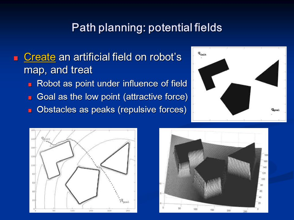 Path planning: potential fields CreateCreate an artificial field on robot's map, and treat Create Robot as point under influence of field Goal as the