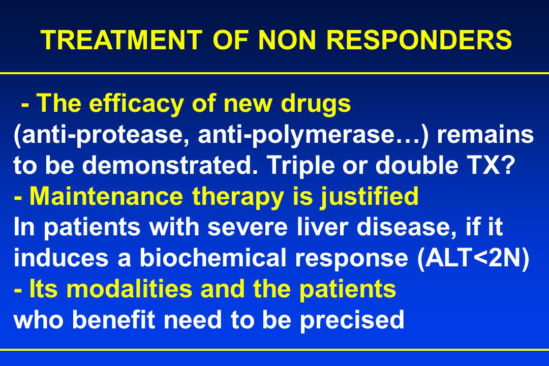 - The efficacy of new drugs (anti-protease, anti-polymerase…) remains to be demonstrated.