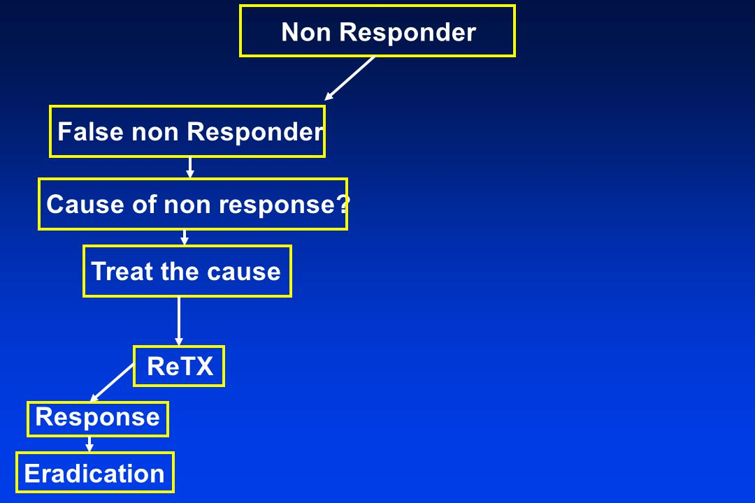Non Responder False non Responder Cause of non response Treat the cause ReTX Response Eradication