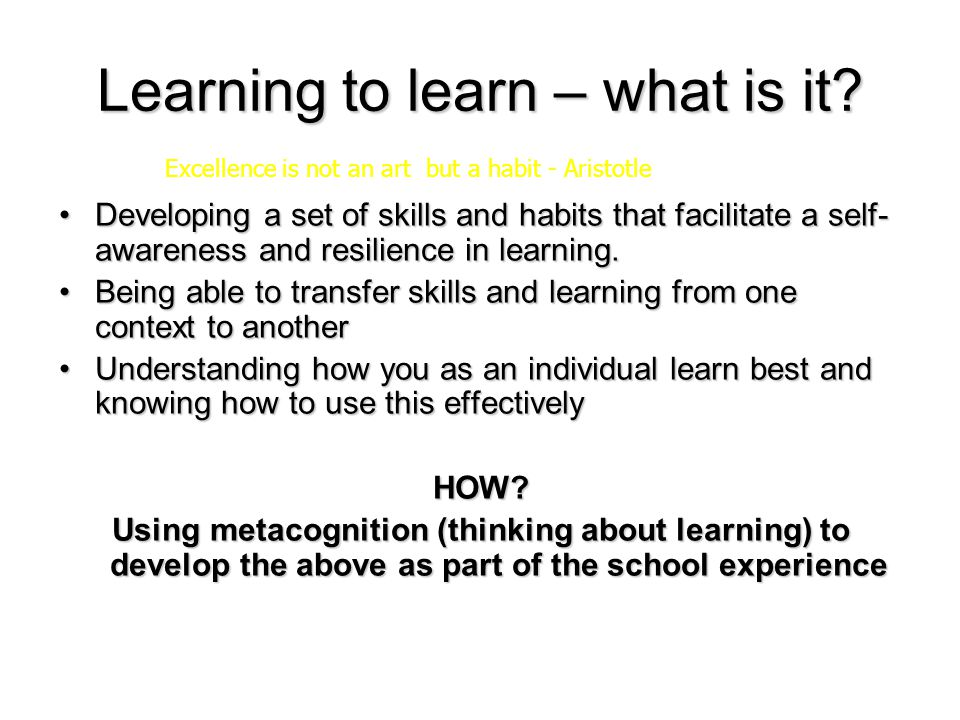 Learning to learn – what is it.