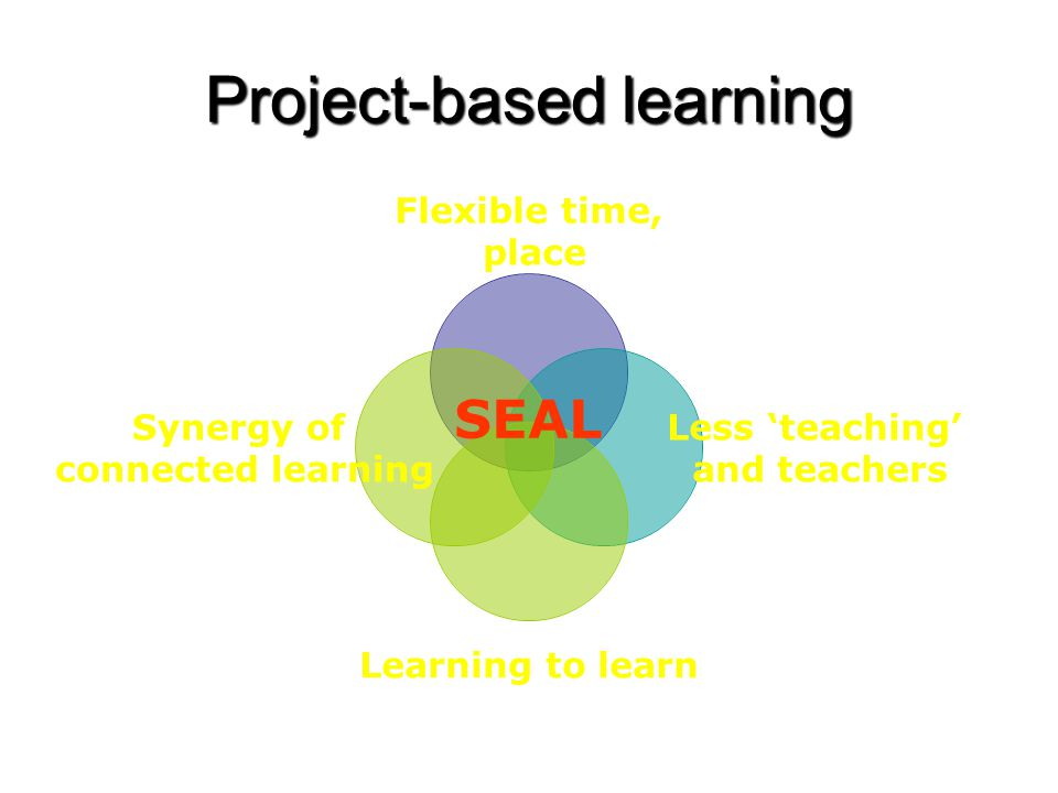 Project-based learning Flexible time, place Less 'teaching' and teachers Learning to learn Synergy of connected learning SEAL