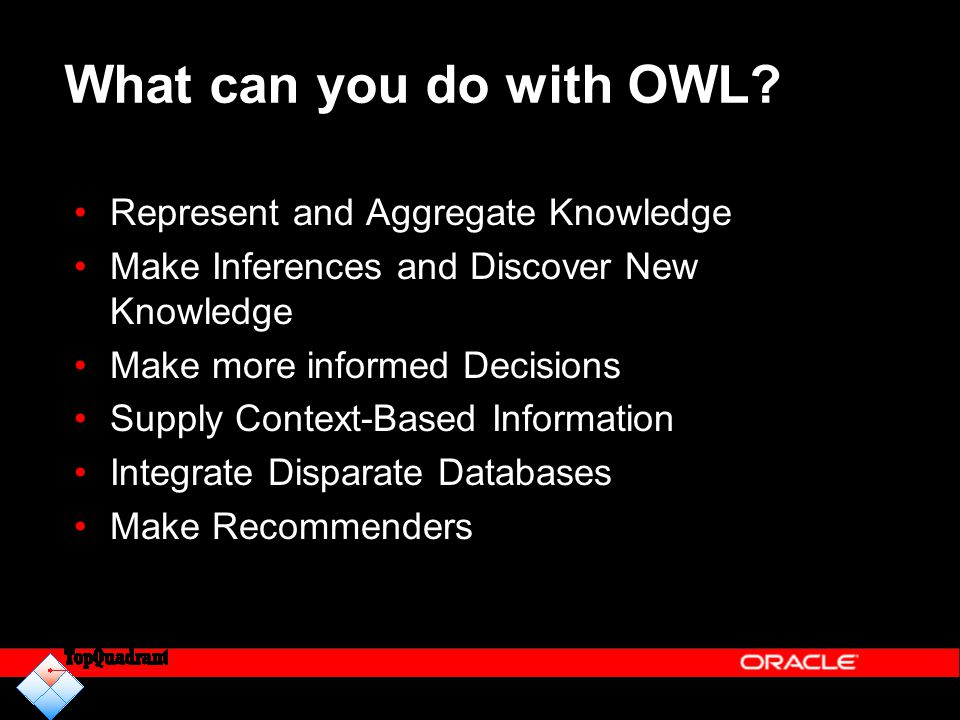 What can you do with OWL? Represent and Aggregate Knowledge Make Inferences and Discover New Knowledge Make more informed Decisions Supply Context-Bas