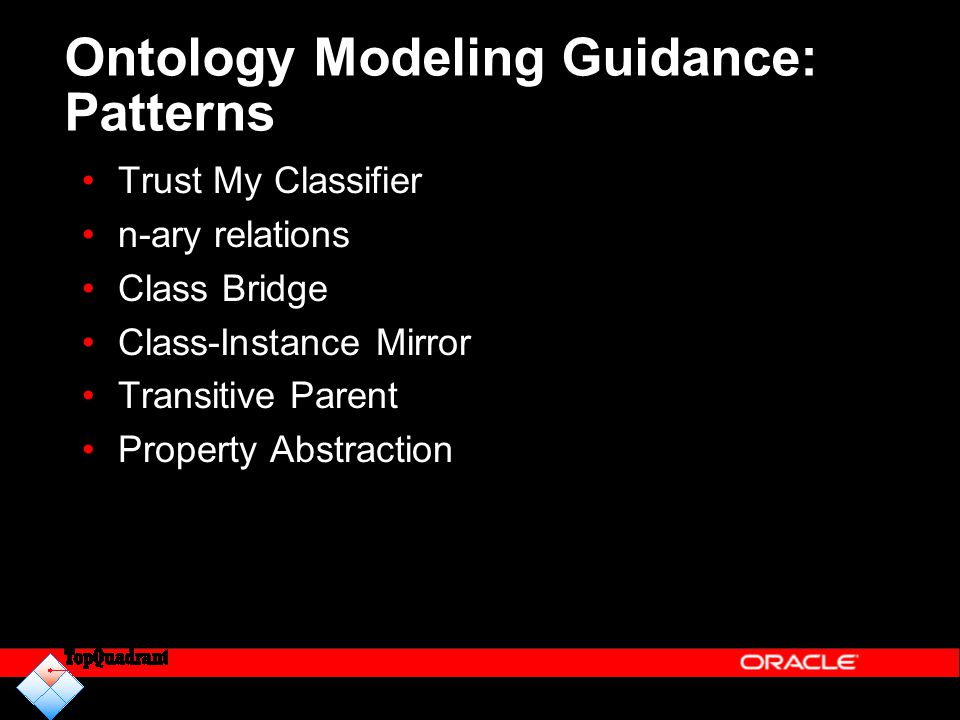 Ontology Modeling Guidance: Patterns Trust My Classifier n-ary relations Class Bridge Class-Instance Mirror Transitive Parent Property Abstraction