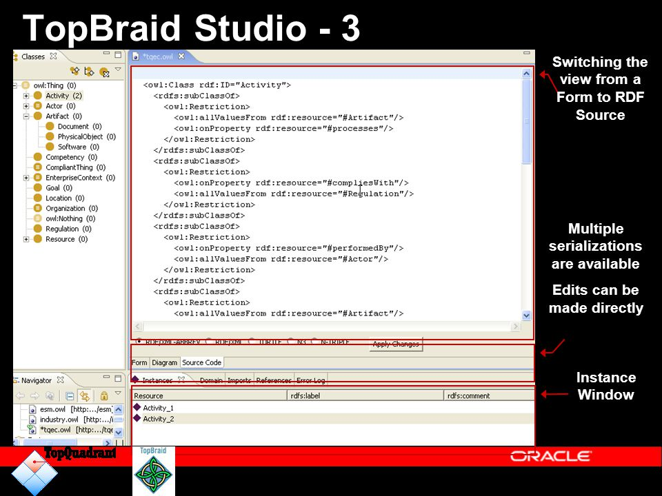 TopBraid Studio - 3 Switching the view from a Form to RDF Source Instance Window Multiple serializations are available Edits can be made directly