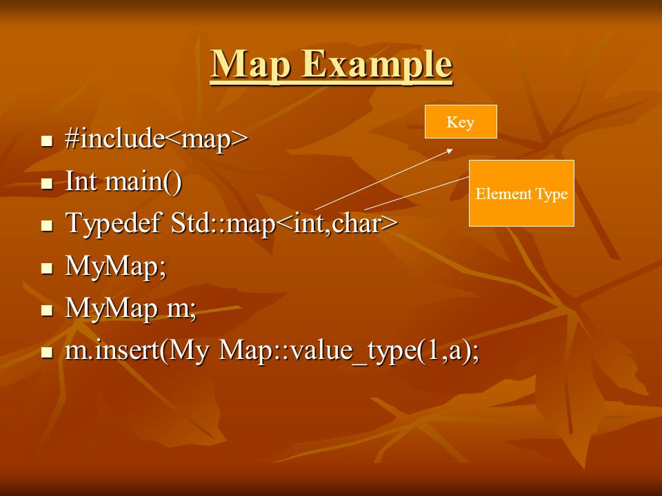 Map Example #include #include Int main() Int main() Typedef Std::map Typedef Std::map MyMap; MyMap; MyMap m; MyMap m; m.insert(My Map::value_type(1,a); m.insert(My Map::value_type(1,a); Key Element Type
