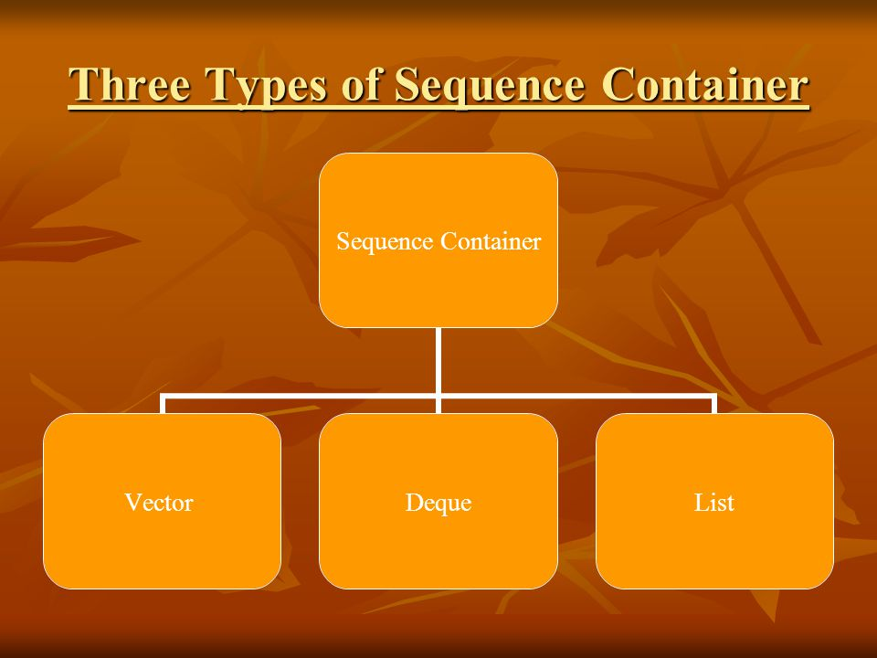Three Types of Sequence Container Sequence Container VectorDequeList