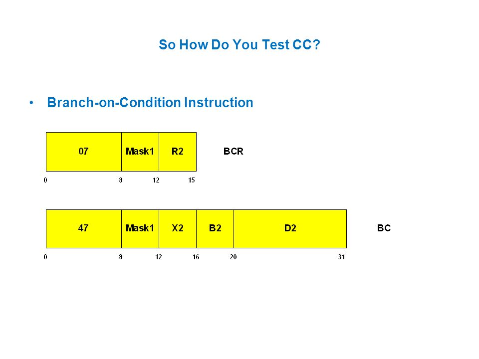 So How Do You Test CC Branch-on-Condition Instruction