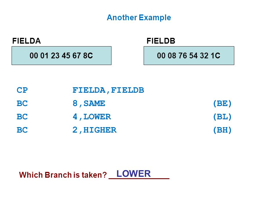 Another Example CPFIELDA,FIELDB BC8,SAME(BE) BC4,LOWER(BL) BC2,HIGHER(BH) C C FIELDAFIELDB Which Branch is taken.