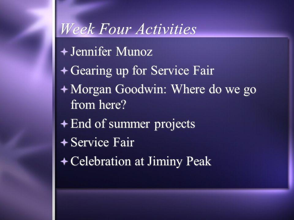 Week Four Activities  Jennifer Munoz  Gearing up for Service Fair  Morgan Goodwin: Where do we go from here.