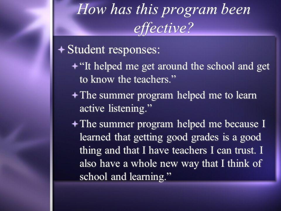 How has this program been effective. How has this program been effective.