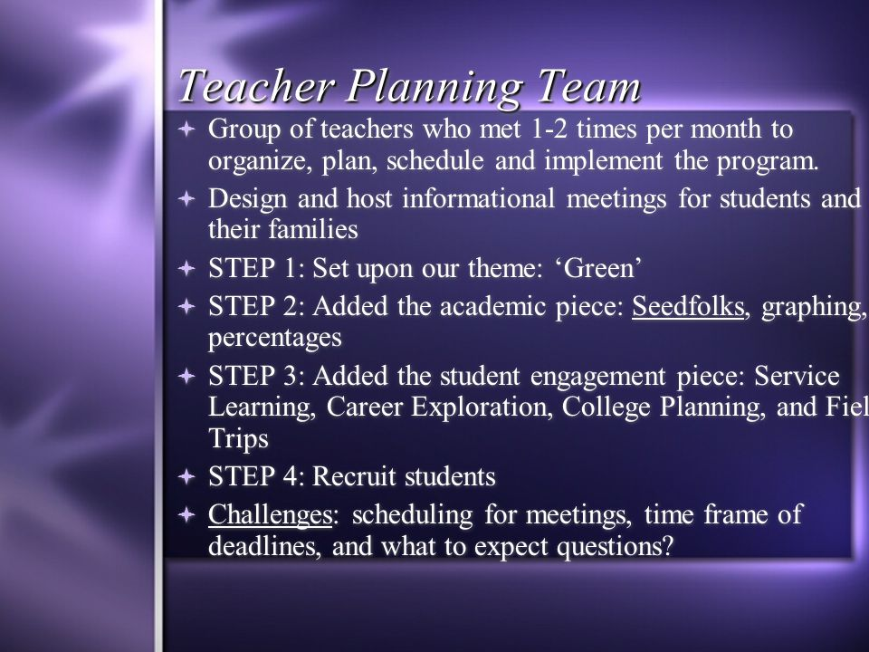 Teacher Planning Team  Group of teachers who met 1-2 times per month to organize, plan, schedule and implement the program.