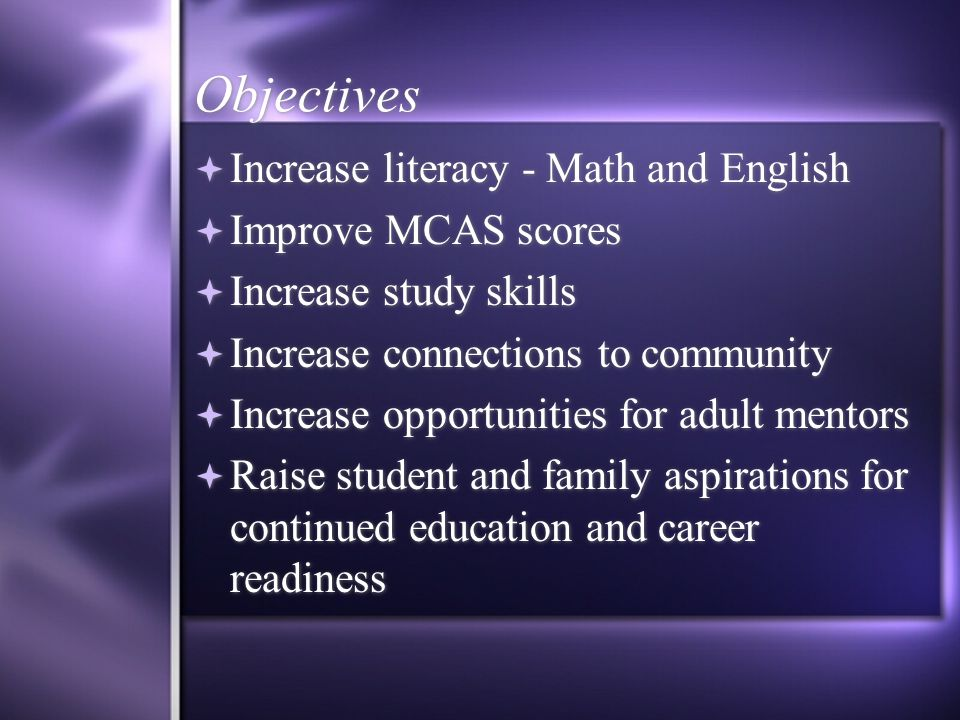 Objectives  Increase literacy - Math and English  Improve MCAS scores  Increase study skills  Increase connections to community  Increase opportunities for adult mentors  Raise student and family aspirations for continued education and career readiness  Increase literacy - Math and English  Improve MCAS scores  Increase study skills  Increase connections to community  Increase opportunities for adult mentors  Raise student and family aspirations for continued education and career readiness
