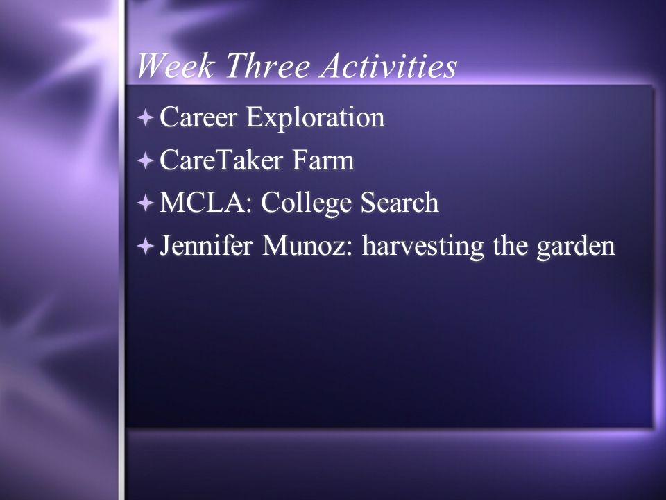 Week Three Activities  Career Exploration  CareTaker Farm  MCLA: College Search  Jennifer Munoz: harvesting the garden  Career Exploration  CareTaker Farm  MCLA: College Search  Jennifer Munoz: harvesting the garden
