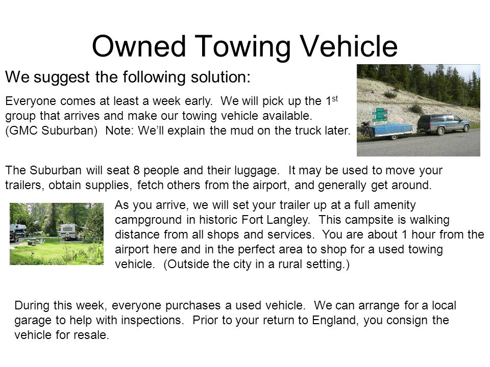 Owned Towing Vehicle We suggest the following solution: Everyone comes at least a week early.