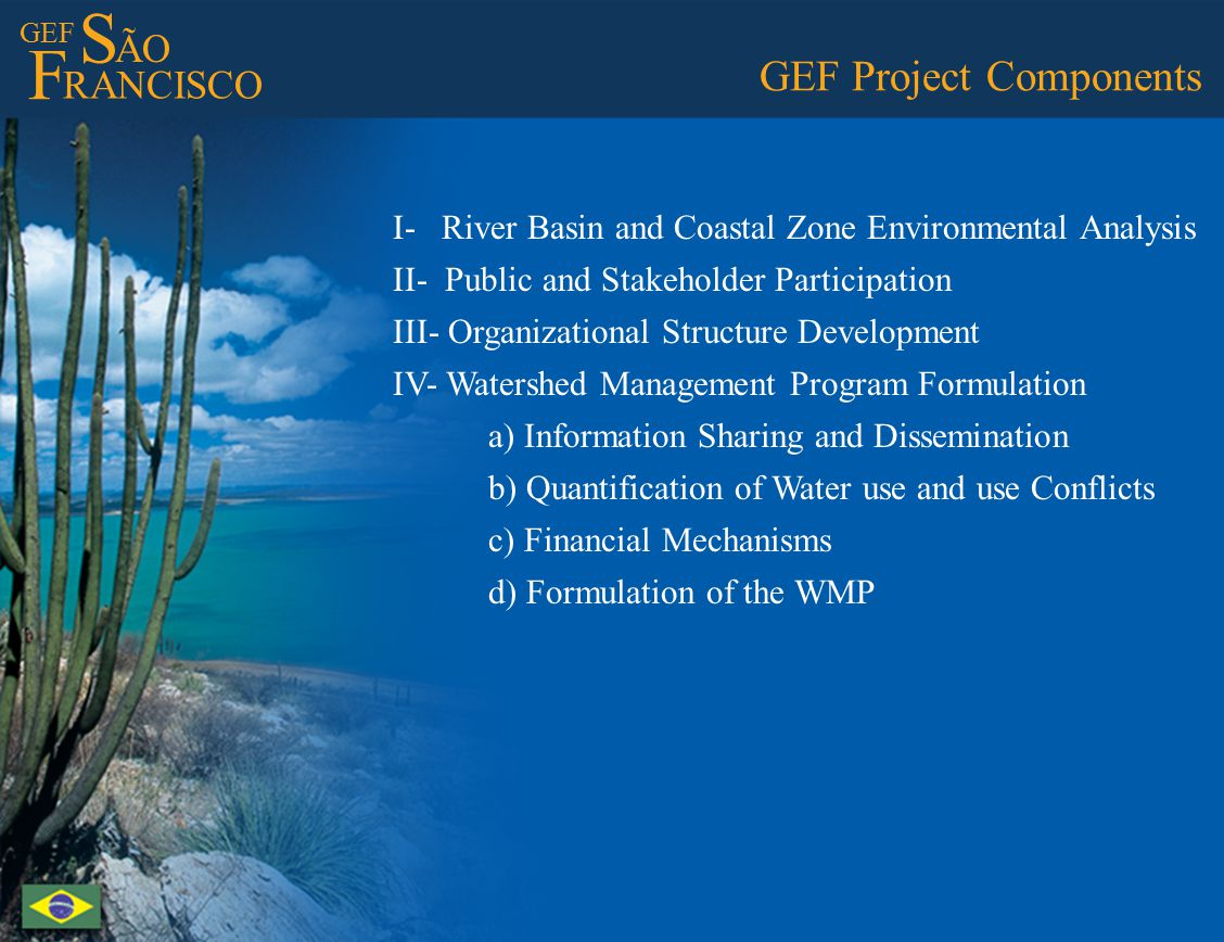 GEF S ÃO F RANCISCO GEF Project Components I- River Basin and Coastal Zone Environmental Analysis II- Public and Stakeholder Participation III- Organizational Structure Development IV- Watershed Management Program Formulation a) Information Sharing and Dissemination b) Quantification of Water use and use Conflicts c) Financial Mechanisms d) Formulation of the WMP