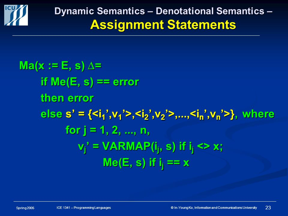 Spring 2005 23 ICE 1341 – Programming Languages © In-Young Ko, Information and Communications University Dynamic Semantics – Denotational Semantics – Assignment Statements Ma(x := E, s)  = if Me(E, s) == error if Me(E, s) == error then error then error else s' = {,,..., }, where else s' = {,,..., }, where for j = 1, 2,..., n, for j = 1, 2,..., n, v j ' = VARMAP(i j, s) if i j <> x; v j ' = VARMAP(i j, s) if i j <> x; Me(E, s) if i j == x Me(E, s) if i j == x