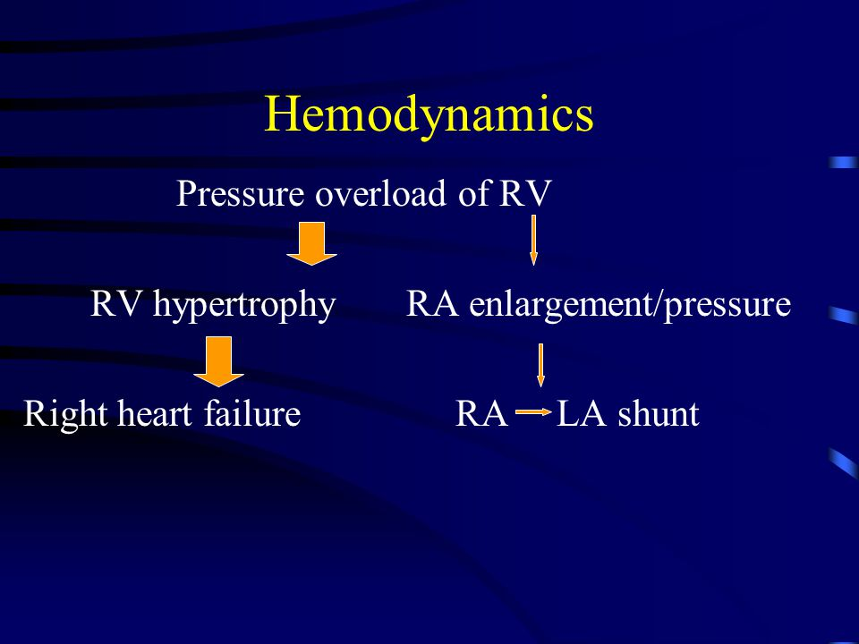 Hemodynamics Pressure overload of RV RV hypertrophy RA enlargement/pressure Right heart failure RA LA shunt