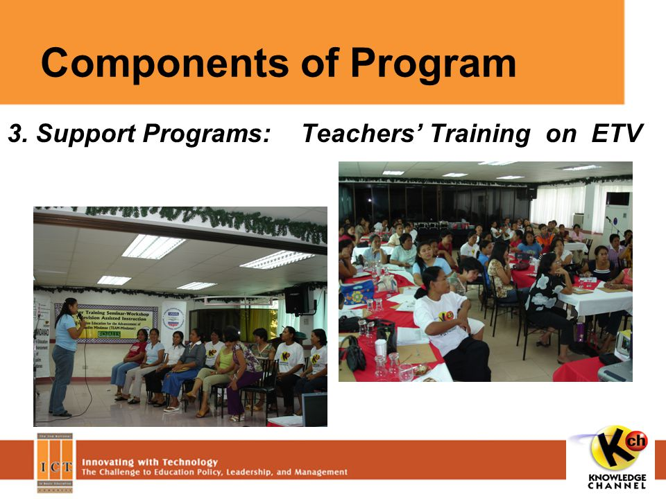 Components of Program 3. Support Programs: Teachers' Training on ETV