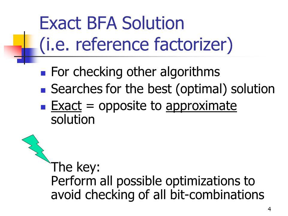 4 Exact BFA Solution (i.e.