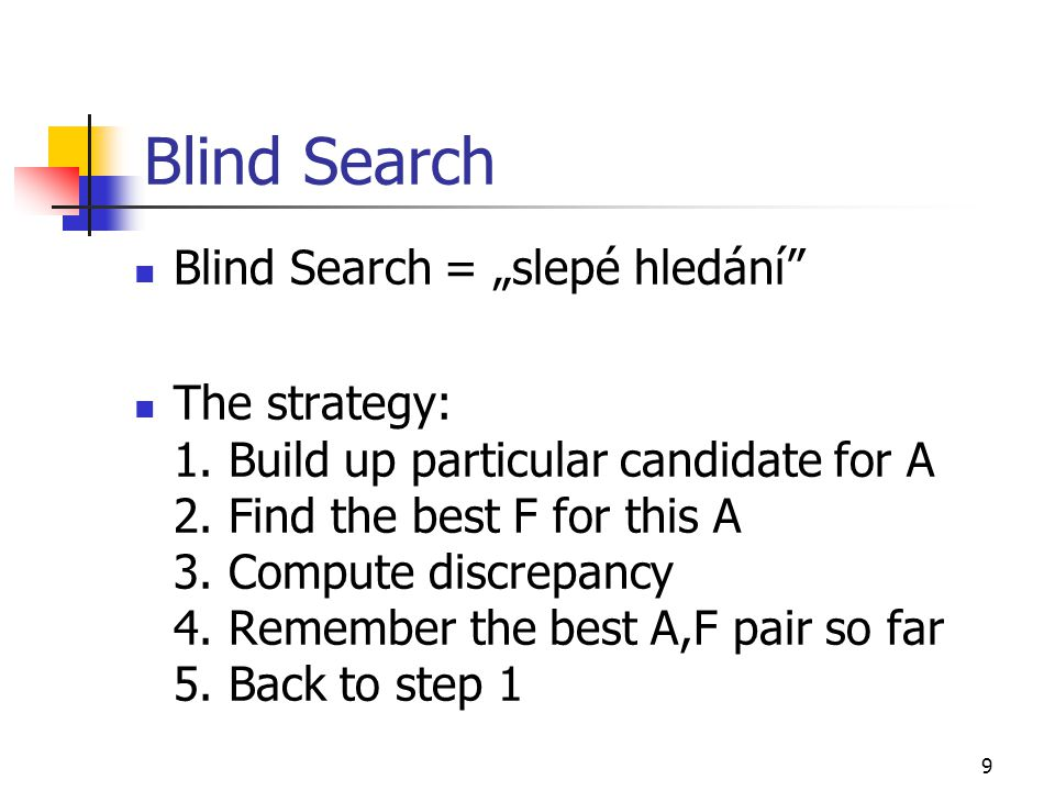 10 Blind Search (2.) The key tasks: 1.Building up the candidates for A 2.