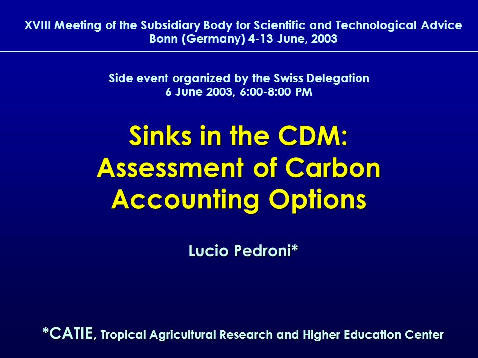 1 Sinks in the CDM: Assessment of Carbon Accounting Options XVIII Meeting of the Subsidiary Body for Scientific and Technological Advice Bonn (Germany) 4-13 June, 2003 Lucio Pedroni* *CATIE, Tropical Agricultural Research and Higher Education Center Side event organized by the Swiss Delegation 6 June 2003, 6:00-8:00 PM