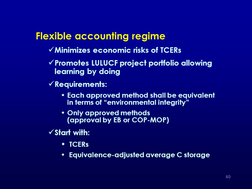 40 Flexible accounting regime Minimizes economic risks of TCERs Promotes LULUCF project portfolio allowing learning by doing Requirements: Each approved method shall be equivalent in terms of environmental integrity Only approved methods (approval by EB or COP-MOP) Start with: TCERs Equivalence-adjusted average C storage