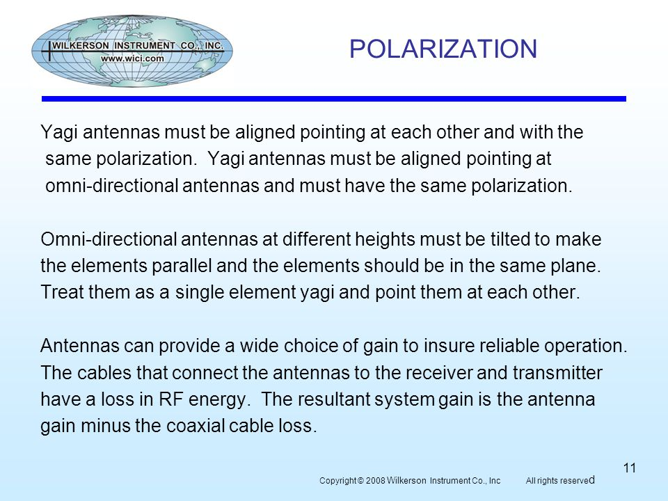 POLARIZATION Yagi antennas must be aligned pointing at each other and with the same polarization.