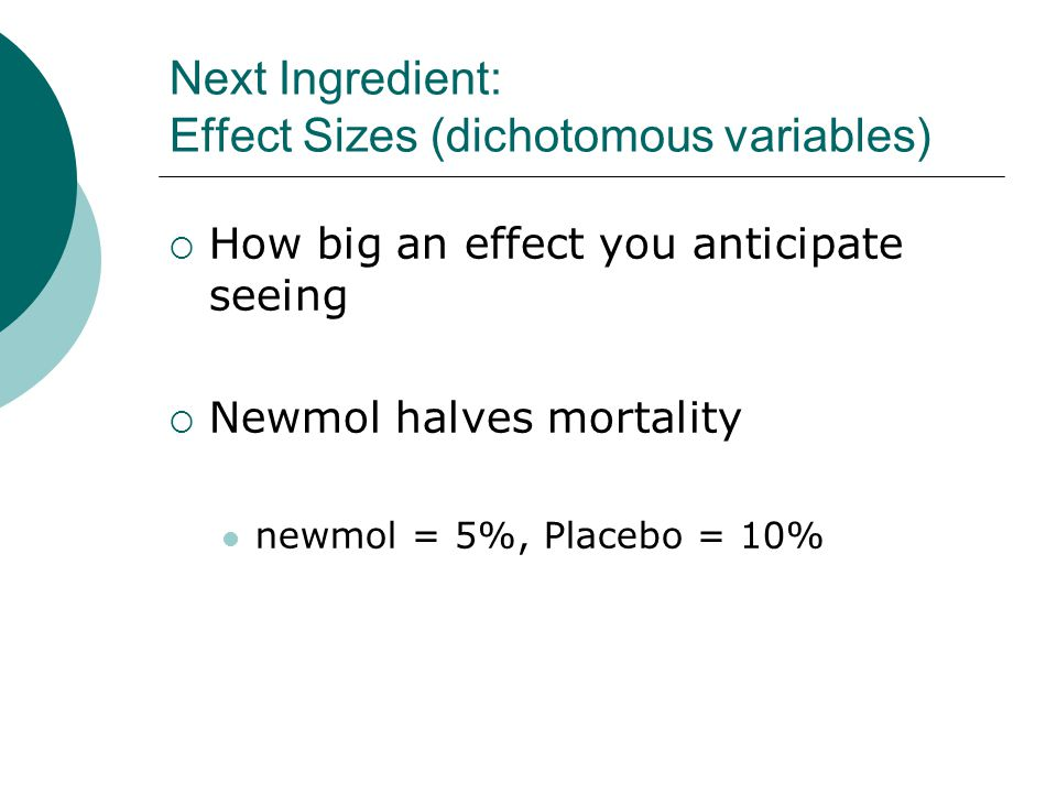 Next Ingredient: Effect Sizes (dichotomous variables)  How big an effect you anticipate seeing  Newmol halves mortality newmol = 5%, Placebo = 10%
