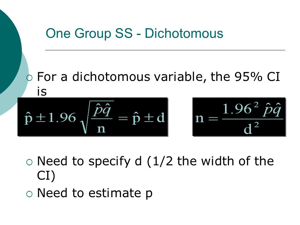 One Group SS - Dichotomous  For a dichotomous variable, the 95% CI is  Need to specify d (1/2 the width of the CI)  Need to estimate p