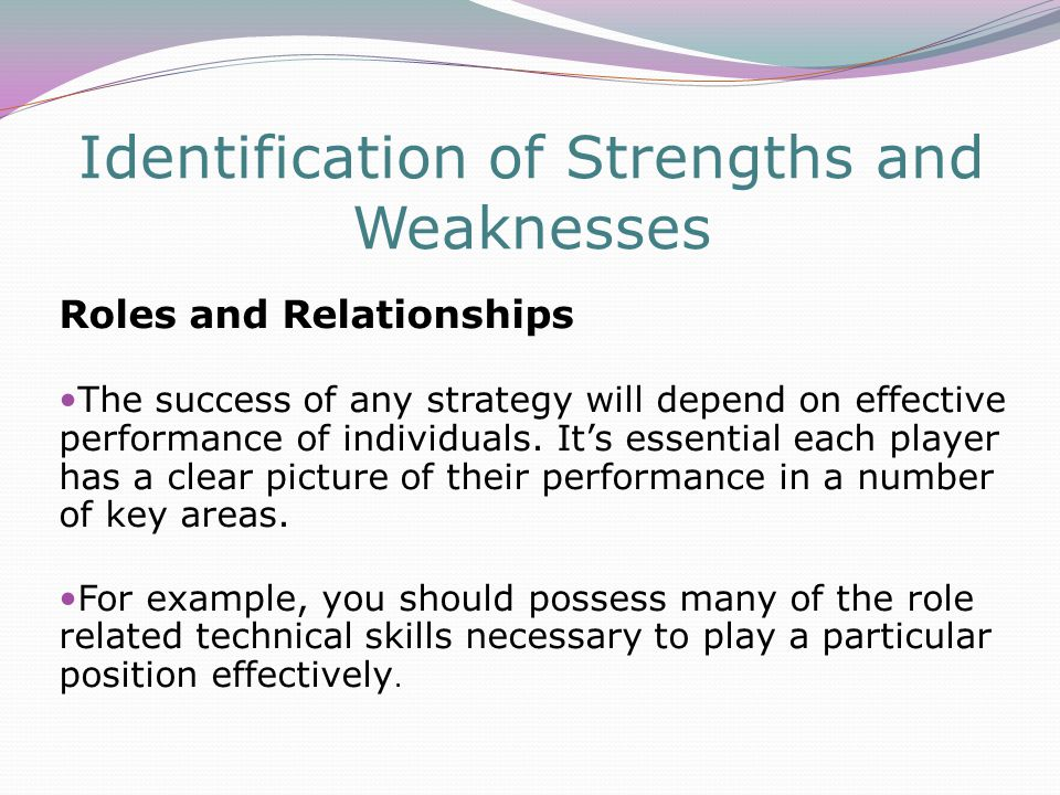 Identification of Strengths and Weaknesses Roles and Relationships The success of any strategy will depend on effective performance of individuals.