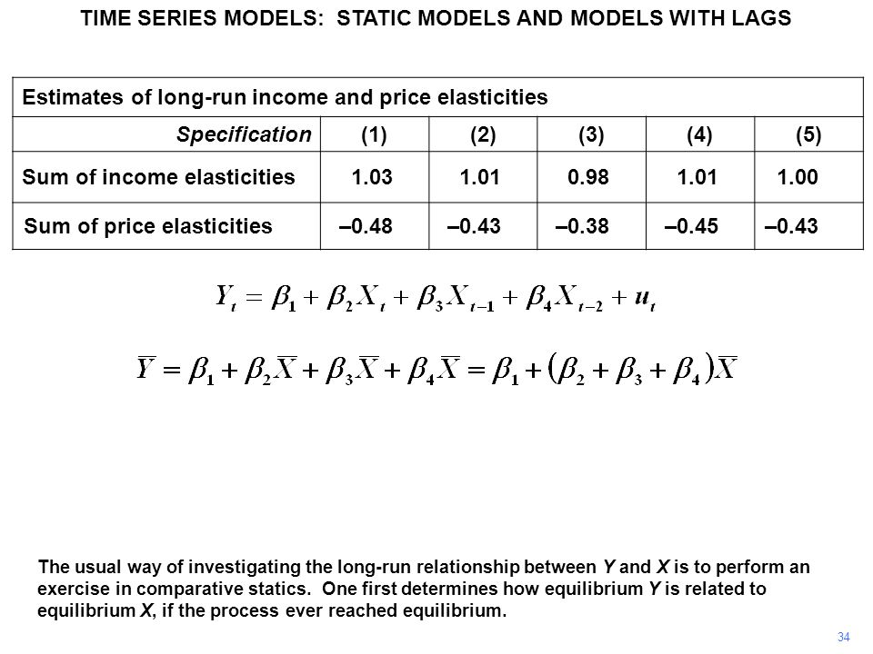 TIME SERIES MODELS: STATIC MODELS AND MODELS WITH LAGS 34 The usual way of investigating the long-run relationship between Y and X is to perform an exercise in comparative statics.