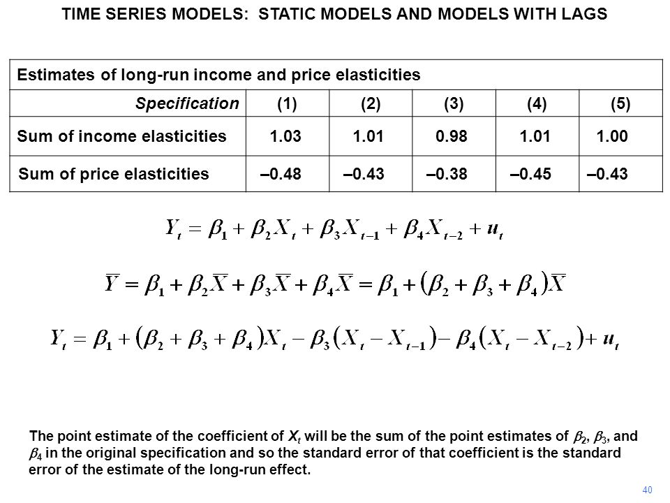 TIME SERIES MODELS: STATIC MODELS AND MODELS WITH LAGS 40 The point estimate of the coefficient of X t will be the sum of the point estimates of  2,  3, and  4 in the original specification and so the standard error of that coefficient is the standard error of the estimate of the long-run effect.