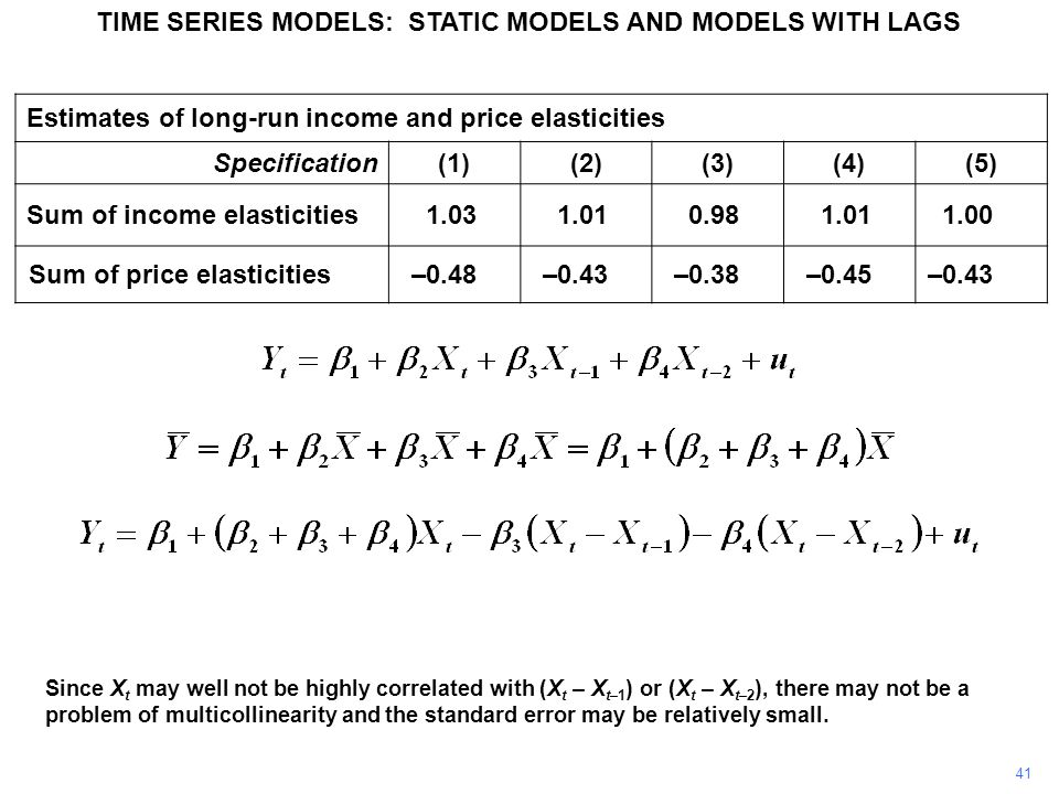 TIME SERIES MODELS: STATIC MODELS AND MODELS WITH LAGS 41 Since X t may well not be highly correlated with (X t – X t–1 ) or (X t – X t–2 ), there may not be a problem of multicollinearity and the standard error may be relatively small.