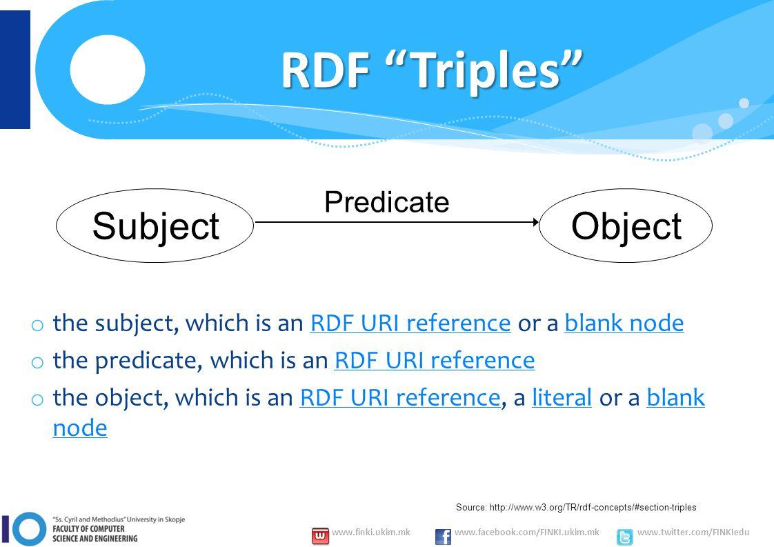 www.finki.ukim.mk www.facebook.com/FINKI.ukim.mk www.twitter.com/FINKIedu RDF Triples o the subject, which is an RDF URI reference or a blank nodeRDF URI referenceblank node o the predicate, which is an RDF URI referenceRDF URI reference o the object, which is an RDF URI reference, a literal or a blank nodeRDF URI referenceliteralblank node Source: http://www.w3.org/TR/rdf-concepts/#section-triples SubjectObject Predicate