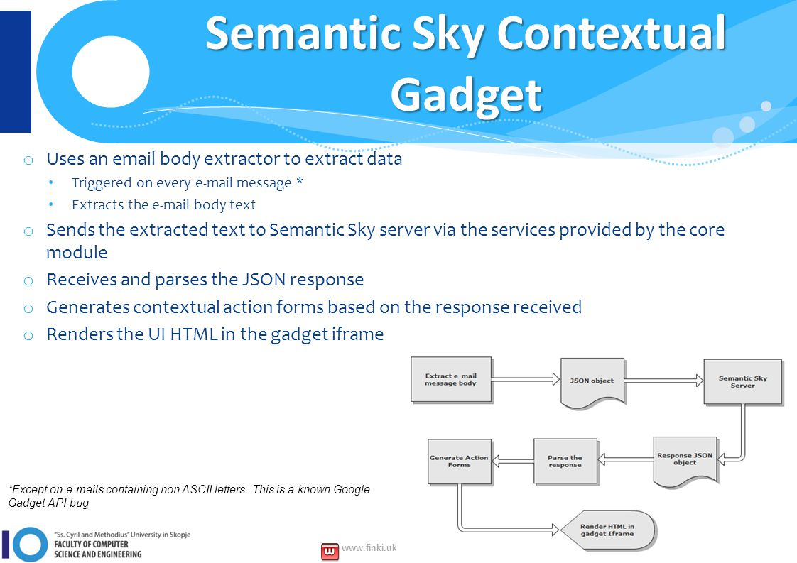 www.finki.ukim.mk www.facebook.com/FINKI.ukim.mk www.twitter.com/FINKIedu Semantic Sky Contextual Gadget o Uses an email body extractor to extract data Triggered on every e-mail message * Extracts the e-mail body text o Sends the extracted text to Semantic Sky server via the services provided by the core module o Receives and parses the JSON response o Generates contextual action forms based on the response received o Renders the UI HTML in the gadget iframe *Except on e-mails containing non ASCII letters.